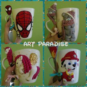 Чаша-и-лъжичка-декорирани-с-полимерна-глина