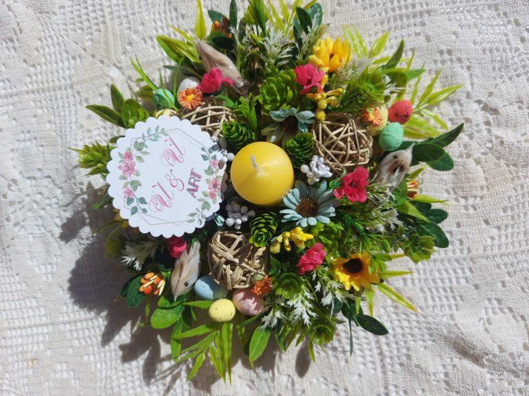 пролетна-декорация с великденски-яйца-и-пиленца