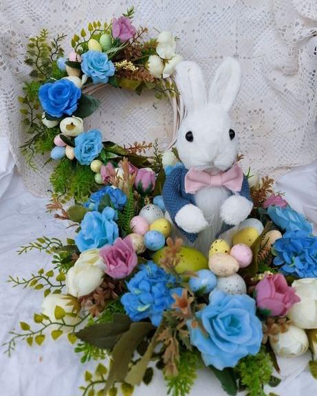 сет-великденска-декорация-зайко-в-синя-премяна