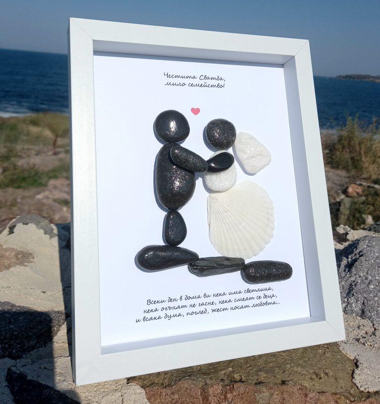 пано-сватба-изработено-от-миди-и-камъчета